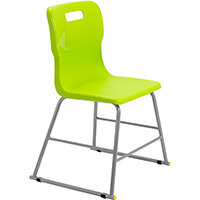 Titan High Classroom Stool with Backrest Size 3 445mm Seat Height (Ages: 6-8 Years) Polly Lipped Seat with Skid Base Lime T60-L - 5 Year Guarantee