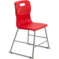 Titan High Classroom Stool with Backrest Size 3 445mm Seat Height (Ages: 6-8 Years) Polly Lipped Seat with Skid Base Red T60-R - 5 Year Guarantee