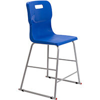 Titan High Classroom Stool with Backrest Size 4 560mm Seat Height (Ages: 8-11 Years) Polly Lipped Seat with Skid Base Blue T61-B - 5 Year Guarantee