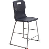 Titan High Classroom Stool with Backrest Size 4 560mm Seat Height (Ages: 8-11 Years) Polly Lipped Seat with Skid Base Charcoal T61-C - 5 Year Guarantee