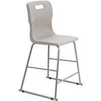 Titan High Classroom Stool with Backrest Size 4 560mm Seat Height (Ages: 8-11 Years) Polly Lipped Seat with Skid Base Grey T61-GR - 5 Year Guarantee