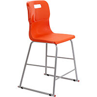 Titan High Classroom Stool with Backrest Size 4 560mm Seat Height (Ages: 8-11 Years) Polly Lipped Seat with Skid Base Orange T61-O - 5 Year Guarantee