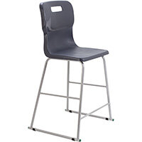 Titan High Classroom Stool with Backrest Size 5 610mm Seat Height (Ages: 11-14 Years) Polly Lipped Seat with Skid Base Charcoal T62-C - 5 Year Guarantee