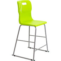 Titan High Classroom Stool with Backrest Size 5 610mm Seat Height (Ages: 11-14 Years) Polly Lipped Seat with Skid Base Lime T62-L - 5 Year Guarantee