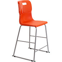 Titan High Classroom Stool with Backrest Size 5 610mm Seat Height (Ages: 11-14 Years) Polly Lipped Seat with Skid Base Orange T62-O - 5 Year Guarantee