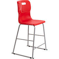 Titan High Classroom Stool with Backrest Size 5 610mm Seat Height (Ages: 11-14 Years) Polly Lipped Seat with Skid Base Red T62-R - 5 Year Guarantee