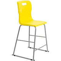Titan High Classroom Stool with Backrest Size 5 610mm Seat Height (Ages: 11-14 Years) Polly Lipped Seat with Skid Base Yellow T62-Y - 5 Year Guarantee
