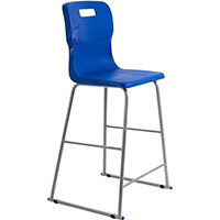Titan High Classroom Stool with Backrest Size 6 685mm Seat Height (Ages: 14+ Years) Polly Lipped Seat with Skid Base Blue T63-B - 5 Year Guarantee