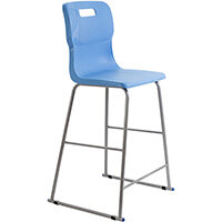 Titan High Classroom Stool with Backrest Size 6 685mm Seat Height (Ages: 14+ Years) Polly Lipped Seat with Skid Base Sky Blue T63-CB - 5 Year Guarantee