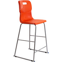 Titan High Classroom Stool with Backrest Size 6 685mm Seat Height (Ages: 14+ Years) Polly Lipped Seat with Skid Base Orange T63-O - 5 Year Guarantee