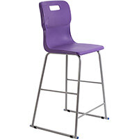 Titan High Classroom Stool with Backrest Size 6 685mm Seat Height (Ages: 14+ Years) Polly Lipped Seat with Skid Base Purple T63-P - 5 Year Guarantee