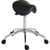 Perch Sit/Stand Height Adjustable Stool In Wipe Clean Pu Black
