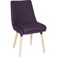Welcome Conference Chair With Modern Oak Coloured Legs In Plum Set of 2