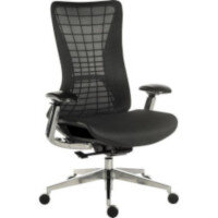 Quantum Executive High Mesh Back Office Chair Black With Black Frame & Metal Base