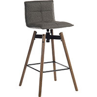 Spin Barstool Dark Wood Frame & Grey Seat