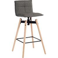 Spin Barstool Light Wood Frame & Grey Seat