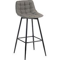 Quilt Barstool Black Metal Frame & Grey Seat