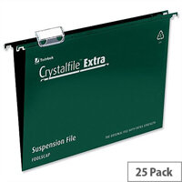 Rexel Crystalfile Extra A4 Vertical Suspension File Green Plastic 15mm Pack 25
