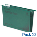 Rexel Crystalfile Classic Foolscap Suspension File Green 30mm Pack 50