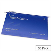 Rexel Crystalfile Foolscap Suspension File Blue V-base 15mm Pack 50