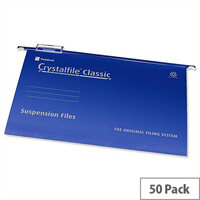 Rexel Crystalfile A4 Vertical Suspension File Blue 15mm Pack 50
