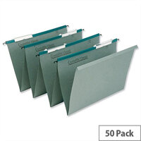 Rexel Crystalfile Linked Suspension File Foolscap Green Pack 50