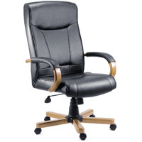 Kingston Executive Black Bonded Leather Faced Office Armchair With Light Oak Colour Wooden Arms And Legs