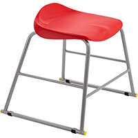 Titan High Backless Classroom Stool Size 3 445mm Seat Height (Ages: 6-8 Years) Polly Lipped Seat with Skid Base Red T90-R - 5 Year Guarantee