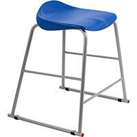 Titan High Backless Classroom Stool Size 4 560mm Seat Height (Ages: 8-11 Years) Polly Lipped Seat with Skid Base Blue T91-B - 5 Year Guarantee