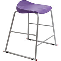 Titan High Backless Classroom Stool Size 4 560mm Seat Height (Ages: 8-11 Years) Polly Lipped Seat with Skid Base Purple T91-P - 5 Year Guarantee
