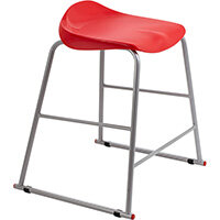 Titan High Backless Classroom Stool Size 4 560mm Seat Height (Ages: 8-11 Years) Polly Lipped Seat with Skid Base Red T91-R - 5 Year Guarantee