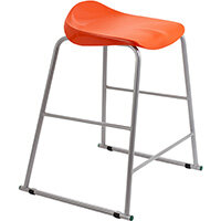 Titan High Backless Classroom Stool Size 5 610mm Seat Height (Ages: 11-14 Years) Polly Lipped Seat with Skid Base Orange T92-O - 5 Year Guarantee