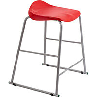 Titan High Backless Classroom Stool Size 5 610mm Seat Height (Ages: 11-14 Years) Polly Lipped Seat with Skid Base Red T92-R - 5 Year Guarantee