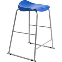 Titan High Backless Classroom Stool Size 6 685mm Seat Height (Ages: 14+ Years) Polly Lipped Seat with Skid Base Blue T93-B - 5 Year Guarantee