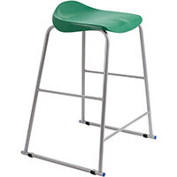 Titan High Backless Classroom Stool Size 6 685mm Seat Height (Ages: 14+ Years) Polly Lipped Seat with Skid Base Green T93-GN - 5 Year Guarantee