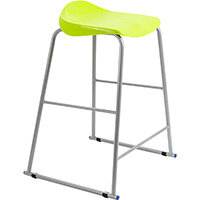 Titan High Backless Classroom Stool Size 6 685mm Seat Height (Ages: 14+ Years) Polly Lipped Seat with Skid Base Lime T93-L - 5 Year Guarantee