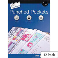 Tallon Clear 10 Punched Pockets Pack of 12 TA40568