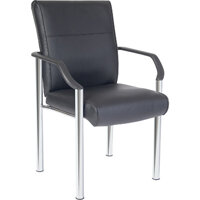 Greenwich Leather & Chrome Reception Chair In Black