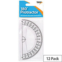 Tiger 180 Degree Clear Plastic Protractor Pack of 12