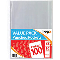 A4 Punched Pockets 30 Micron Pack of 1000 301601