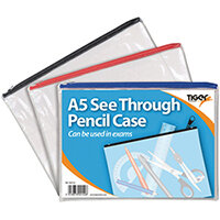 A5 Flat Clear Exam Pencil Case Pack of 12 302152
