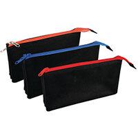 Triple Compartment Flat Black Pencil Case Pack of 12 302180