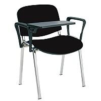 O.I Series Stacking Chair With Writing Tablet Black Fabric Chrome Legs