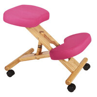 Posture Kneeling Chair With Wood Frame And Polyacrylic Fabric In Pink