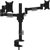 Leap M200 Double Monitor Arm - VESA Compatible, Durable Steel Construction, Ergonomic Streamline Design - Colour: Black