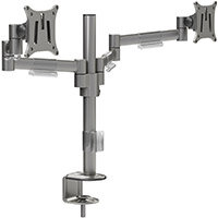 Leap M200 Double Monitor Arm - VESA Compatible, Durable Steel Construction, Ergonomic Streamline Design - Colour: Silver