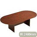 D-End Eco Walnut Boardroom Table 2400mm Wide With Panel End Base