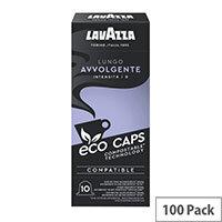 Lavazza Eco Caps Nespresso Coffee Machine Compatible Capsules 100% Compostable Lungo Avvolgente - Pack of 100