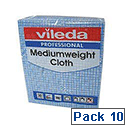 Vileda Medium Weight Cloth Blue Pk10 1063