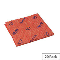 Vileda Breazy Microfibre Cleaning Cloths Pack of 20 Red 137640